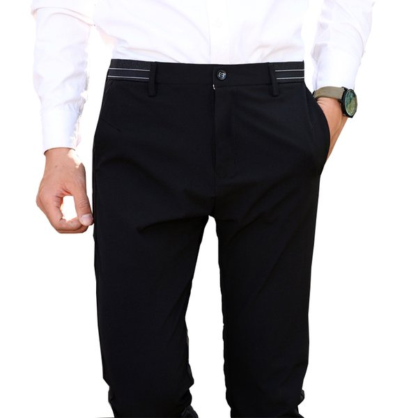 Browon Brand Autumn New Mens Pants Fashions Men Full Length Solid Color Business Work Trousers Men Korean Style Men