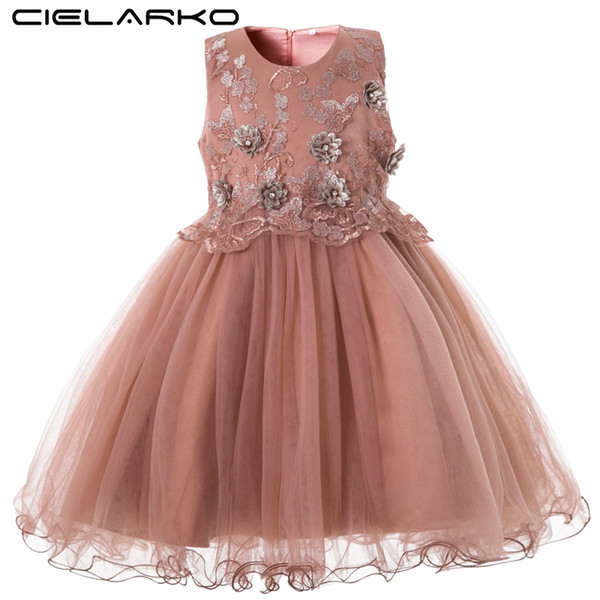 Cielarko Elegant Girls Dress For Wedding Birthday Party Princess Flower Girl Dresses Kids Formal Ball Gown Tulle Fancy Frocks Y19061701
