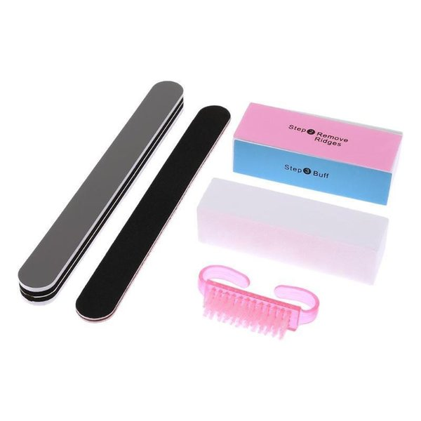5pcs/set Nail Files Sponge Diamond Nail Buffer File Washable Polishing Brushes Home Salon Manicure Pedicure Buffer Block Tools