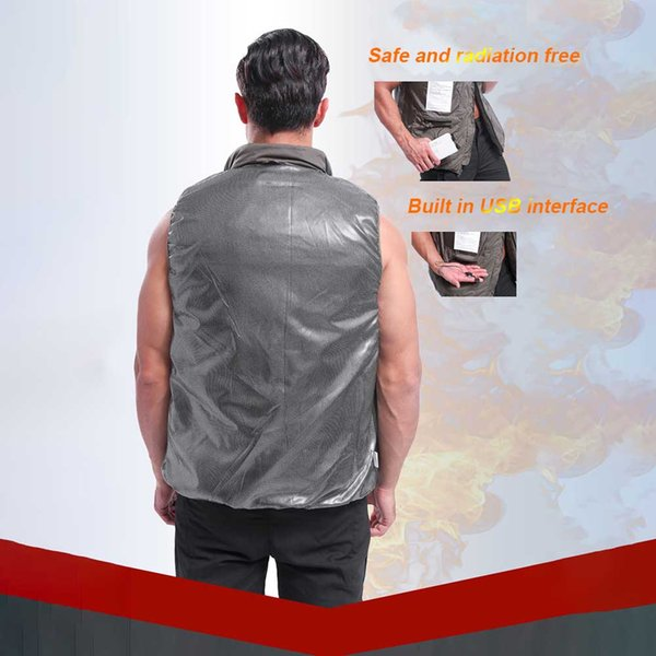 men women fishing riding hiking flexible electric heating vest usb charging sleeveless temperature control outdoor sports, Gray;blue