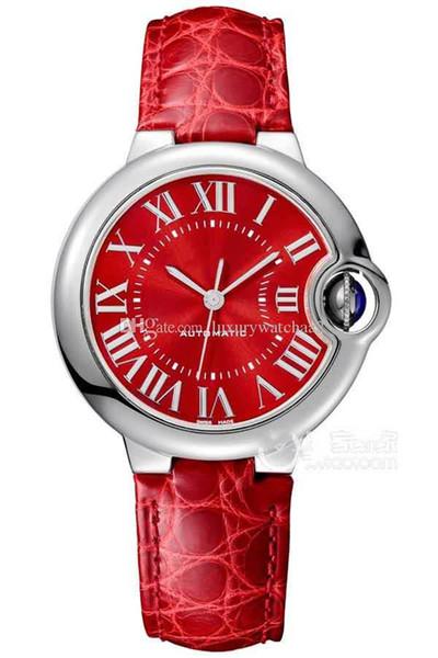 2019 NUEVA marca de moda para mujer Wathces WSBB0022 correa roja 36 mm de lujo mecánico automático de acero inoxidable vestido de las señoras vestido de la nave libre