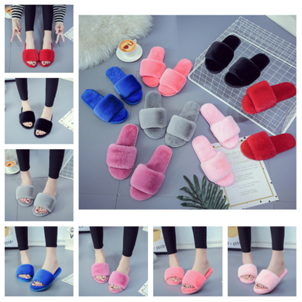 top popular Winter Warm Fur Slippers Fluffy Slide furry slipper Natural Home Shoes Girl Comfortable Flat Heel Slipper designer slippers T2D5042 2020
