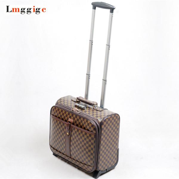 Valigia da viaggio a 16 pollici per bagagli da cabina, custodia con motivo a griglia con borsa per laptop, scatola porta PU da 41 * 38 * 22 cm