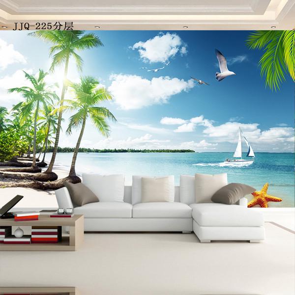 5d Space солнечный день кокосовая пальма вид на море обои гостиная спальня диван 8d ТВ фон обои росписи обоев