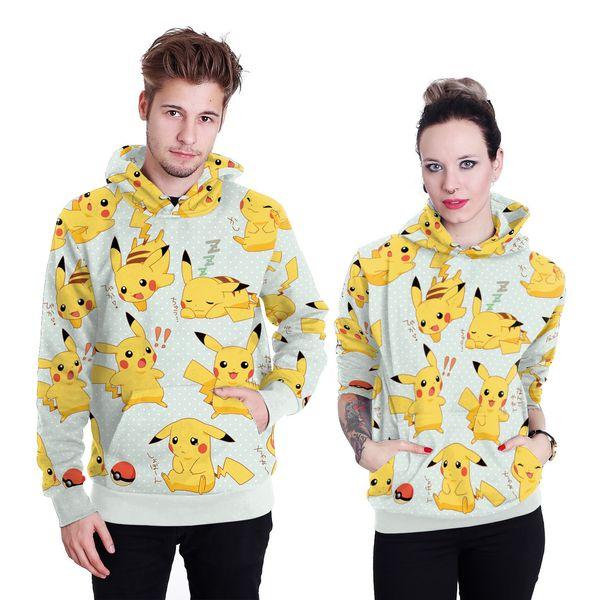Hoodie sweatshirt sweat coat pullover new mens womens hot sale Pikachu digital printing hooded cap women's sweater