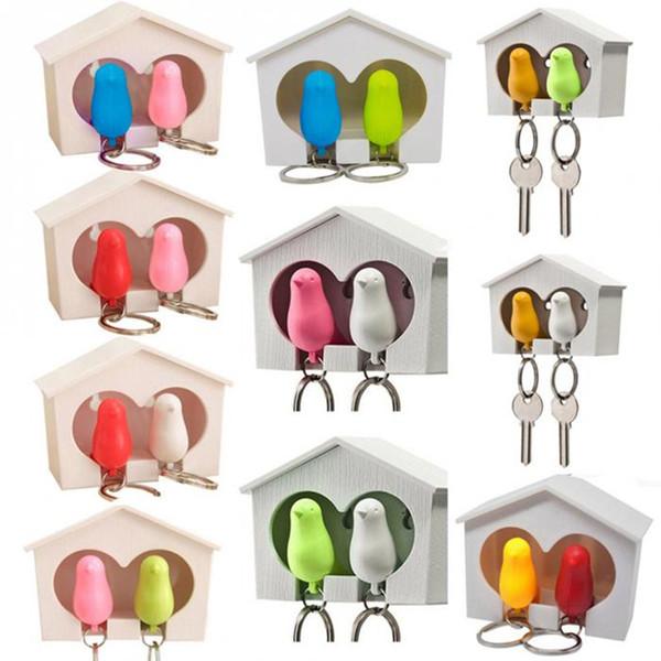 1 Set 2 Bird Keychain+1 House Nest Keyring Hanger Rack Kids Toys Pendant Whistle Key Holder Chain Ring Keyholder Keychain