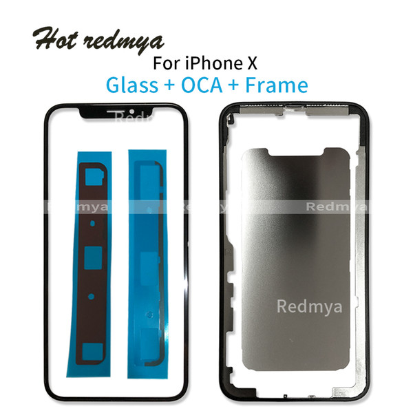 50Pcs Front Screen Outer Glass Len with OCA Assembly +Frame Bezel with Sticker For iPhone X Screen Touch Replacement Repair Parts Free DHL