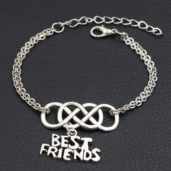 Hot Sale Chains Link Fashion Alloy Double Infinity Love Best Friends Pendant Charm Bracelets & Bangles Cuff Wrap Jewelry for Women Men Gifts