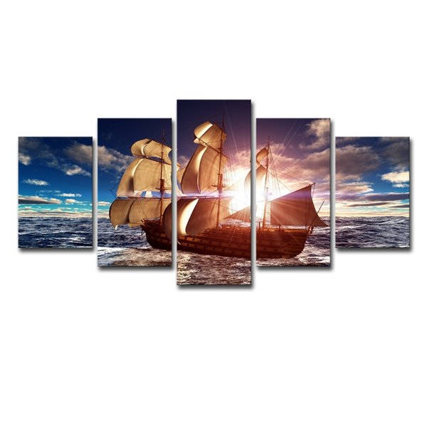 (Only Canvas No Frame) 5Pcs Sunshine Sailboat Painting Sailing Boat Seascape Wall Art HD Print Canvas Painting Fashion Hanging Pictures