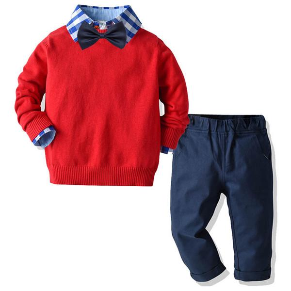 I vestiti dei bambini abiti scherza i vestiti dei ragazzi stabiliti dei vestiti maglione + camicia + pantaloni scherza gli insiemi dei ragazzi vestiti A9221