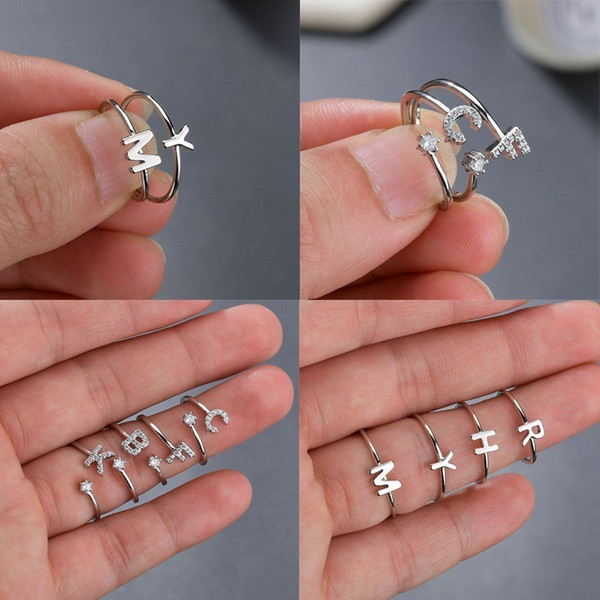 Gioielli di anello di barretta di cristallo fatti a mano di modo della fascia di cerimonia nuziale della fascia di cerimonia nuziale del rhinestone degli anelli vuoti di nome di cristallo dell'annata