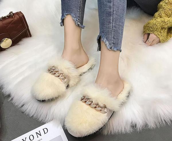 Designer talon Vintage femmes fourrure Pantoufles cheveux d'agneau plat Plus Size Lazy Mulets Mode de luxe à bout rond EUR Femmes Mocassins