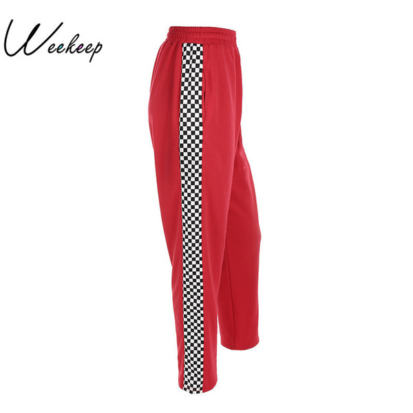 Weekeep Women 2017 Fashion Brand Pantalon Femme Side Checkerboard Sweatpants Red Knitted Womens Trousers Casual Loose Lady Pants Y19071801