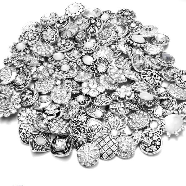 20pcs / lot Haute Qualité Mélanger Beaucoup De Styles De Strass Charme En Métal 18mm Snap Bouton Bracelet Pour les femmes DIY Snap Bouton Bijoux