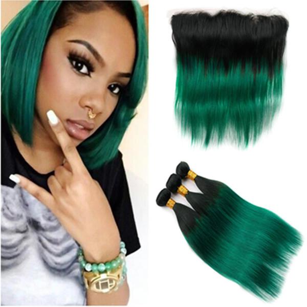# 1B / Grün Ombre gerader brasilianischer Haar-Einschlagfaden mit Frontal Schwarz Dunkelgrün Ombre Menschliches Haar webt 3Bundles mit 13x4 Spitze Frontal