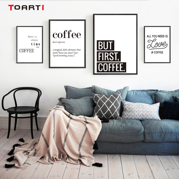 Coffee Quotes Posters Prints Modern Canvas Painting The Wall Love Coffee Art For Kitchen Living Room Home Decor Family Gift