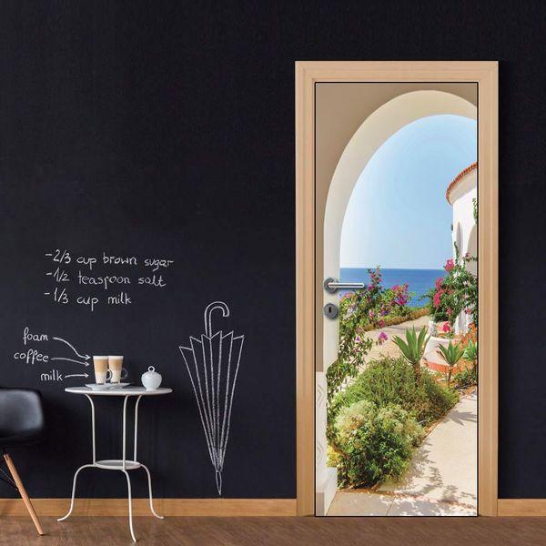 DIY Door Sticker Seaside Arch Wall Sticker Decal Art Decor Vinyl Door Poster Removable Mural Door Wallpaper Kitchen accessories