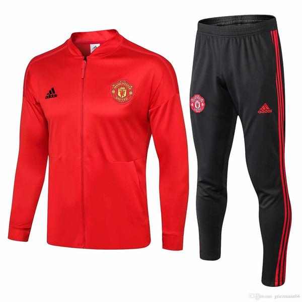 wholesale best quality new 18 19 Man united jacket Pogba 2018 2019 home away tracksuits soccer jersey Lukaku long sleeve full zipper wear