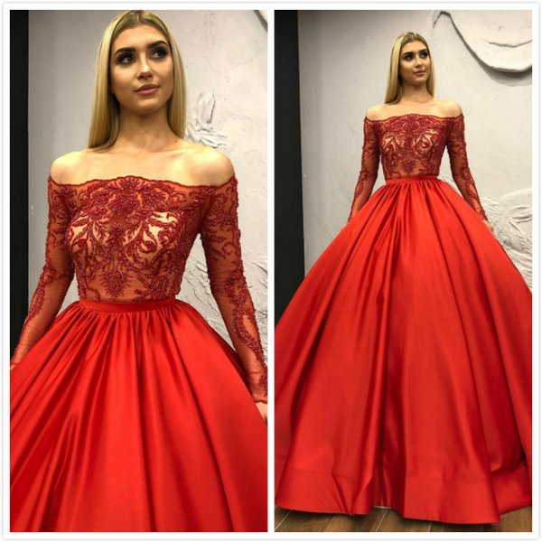 Red Luxurious Sexy 2019 Evening Dresses Long Sleeves Beaded Ball Gown Prom Dresses Satin Formal Party Bridesmaid Pageant Gowns