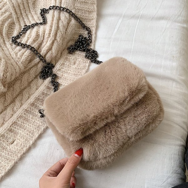 Simple Solid Plush Women's Messenger Bags Chic Chain Crossbody Bags For Women Fashion Plush Design Flap Purses Lady Shoulder Bag
