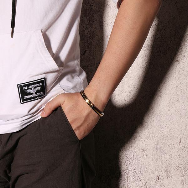 BC Personalized Europe Custom Gold With Black Stainless Steel bracelet Titanium Bracelet Opening Hand Women Men Jewelry