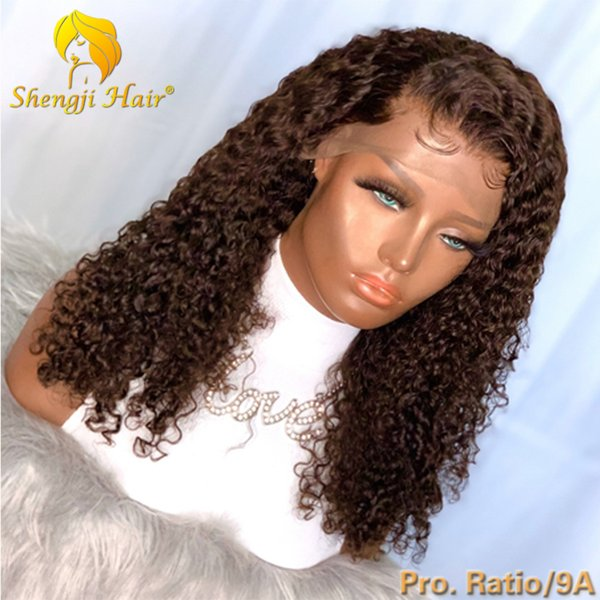 # 2 Lace Front perruque brésilienne avec bébé cheveux bouclés 13x6 Lace Front perruques de cheveux humains pour les femmes noires 9A 180% Shengji Remy perruque