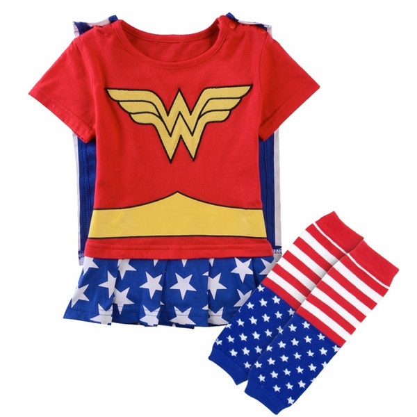 Baby Girl Wonder Woman Costume Playsuit With Cape Party Fancy Dresses With Warm Leg Boots Socks Newborn Super Girl Bodysuit Y19050602