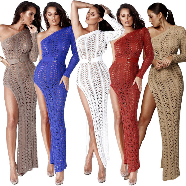 One Shoulder Sexy Knitted Women Maxi Dress Long Sleeve Side High Slit Hollow Out Sexy Dresses Elegant Beach Wear