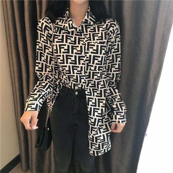 2019 mujeres de la manera Tops solapa impresa camisas de manga larga de primavera y otoño damas de un solo pecho blusa diseñador de la marca tipo flojo blusas