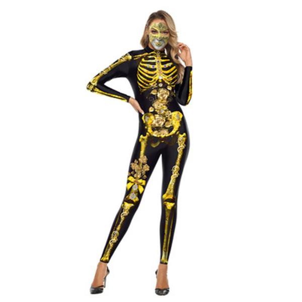 Cosplay long jumpsuit Rose skeleton Printed high neck long sleeve jumpsuit S-XL