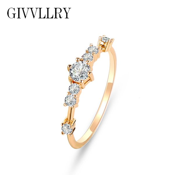 GIVVLLRY Shiny Rhinestones Knuckle Ring for Gift Fashion Jewelry Minimalist Stars Zircon Bejewelled Engagement Rings for Women