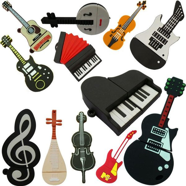 Highquality Hot Sale USB 2.0 Musical Instruments USB Flash Drive Pendrive 8gb 16gb 32gb 64gb Memory Stick Pen Drive U Disk for Popular Gift