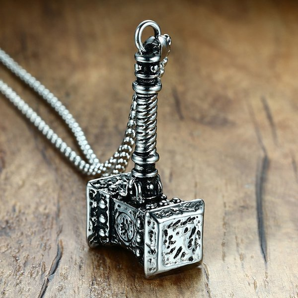 Punk Mens Solid Viking Thors Hammer Pendant Necklace Stainless Steel Vintage Mjolnir's Norse Mythology Male Jewelry