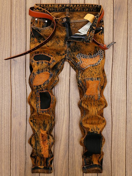 Men Pants Distress Patch Embellished Straight Leg Jeans Destroy Wash Vintage Long Trousers Ripped Pants Orange