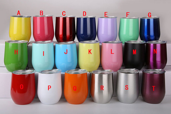 best selling 12oz Wine Tumbler Egg Tumbler Stemless Tumbler Stainless Steel Double Walled with lid Mixed Colors Options