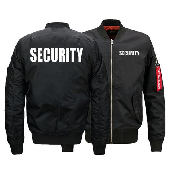 Security Uniform Jacket USA SIZE Men's Bomber Jackets Warm Zipper FLIGHT JACKET Winter thicken Men Coats Outwear Drop Ship