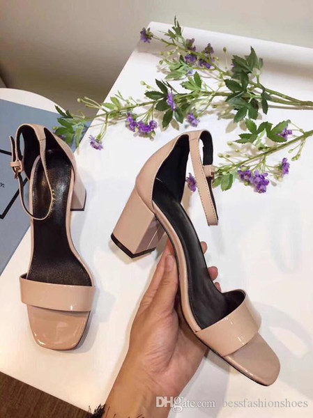 Thick Heeled Patent Leather Fashion Summer Gladiator Sandals Shoes Black Nude White Red Women Wedding Dress Fashion Sandals Zapatos