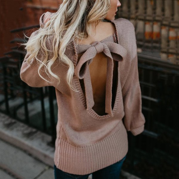 2019 winter good quality sexy backless big bow woman sweater solid full lantern sleeve pullover female sweater