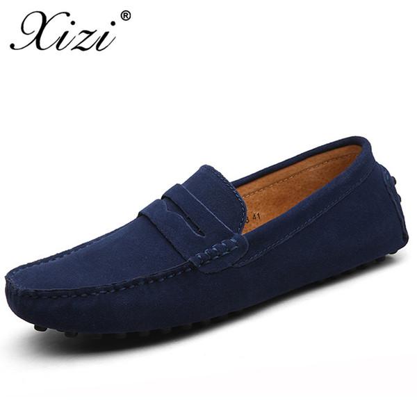 Xizi Verano Hombres Zapatos casuales Moda Hombre Zapatillas de deporte Mocasines Zapatos de cuero genuino Resbalón en pisos de hombres Barco de conducción Tamaño grande