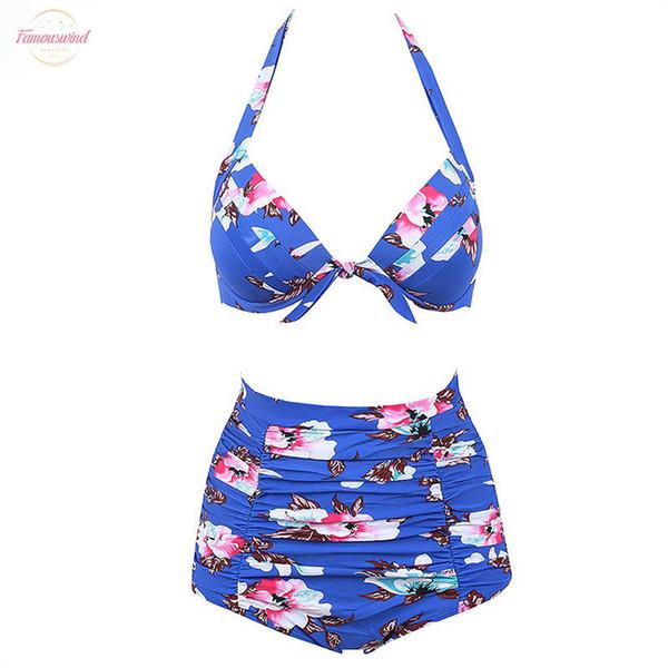 Bikinis única altura de la cintura del traje de baño empuja hacia arriba el traje de baño de las mujeres 2019 Plus Trajes de baño Tamaño Impreso del bikini Conjunto floral