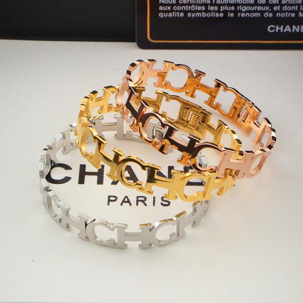 Luxury Charm Bracelets 18K Letter Connected Bracelets For Lovers Rose Gold Plate Bracelet For Men Women
