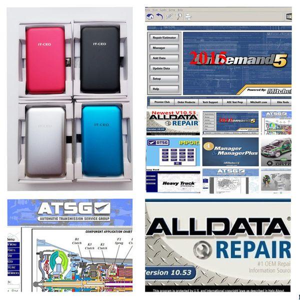 2019 Alldata mais novo V10.53 e Mitchell 2015 dados de reparação de automóveis vívida oficina de caminhão pesado 46 em transporte livre novo HDD de 1TB