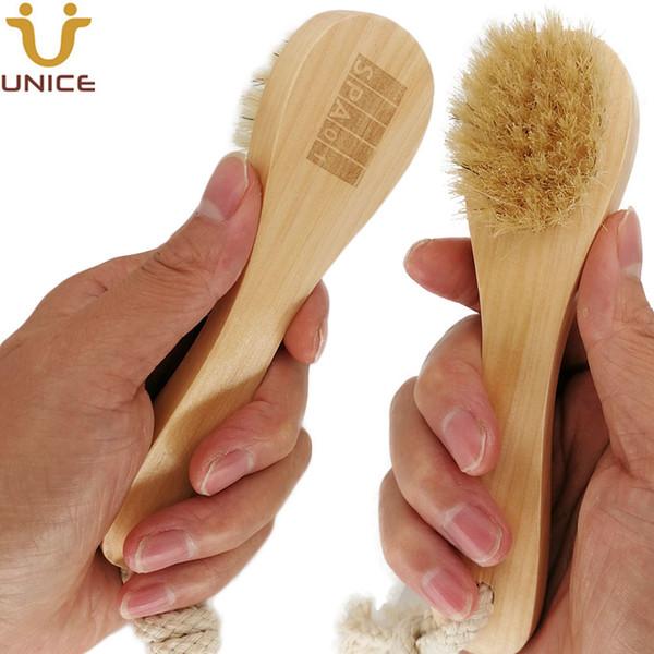 best selling MOQ 50pcs OEM Boar Bristle Facial Brushes Shaving Brush Customized LOGO Wooden Handle Facial Cleaning Brush Skin Care Tool