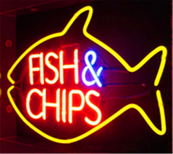 New Star Neon Sign Factory 17X14 Inches Real Glass Neon Sign Light for Beer Bar Pub Garage Room Fish & Chips.