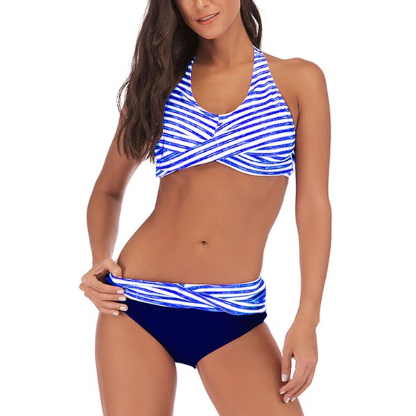 Stripe Printed Halter Bikini Set 2019 Fashion Women Swimwear Plus Size High Waist Swimsuit Push Up Sexy Bathing Suit Biquini 3XL