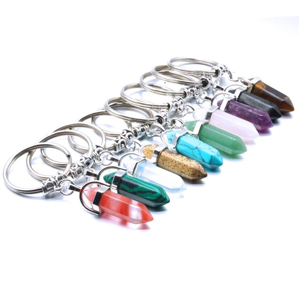 MKI Hexagonal Prism Natural Stone Pendant Keychain Bullet Crystal Charms Key rings Jewelry Fashion Accessories