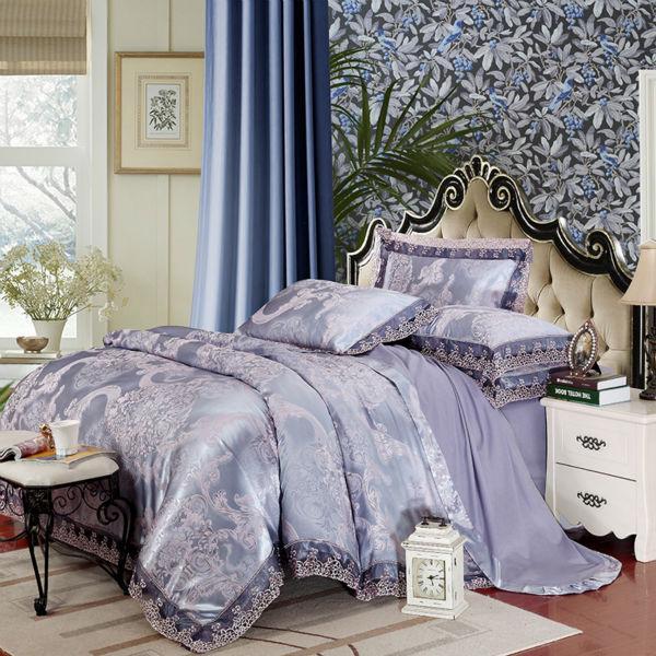 European style flower print bedding sets light purple linens silk cotton jacquard 4/6pcs Queen/King duvet cover set sheets