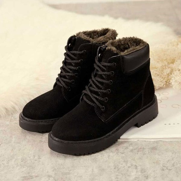 boots woman 2019 new fashion solid color cotton boots Increase down keep warm short rivet winter woman