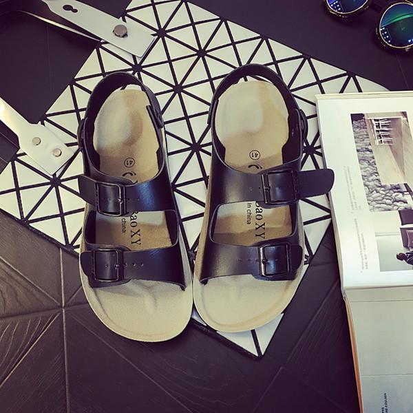 2019 Yaz Yeni Kore Bayanlar Sandalet Açık Kayma Burnu açık Kelime Düz Plaj Sandalet Ve Terlik Rahat Ayakkabılar Boyutu 39-40