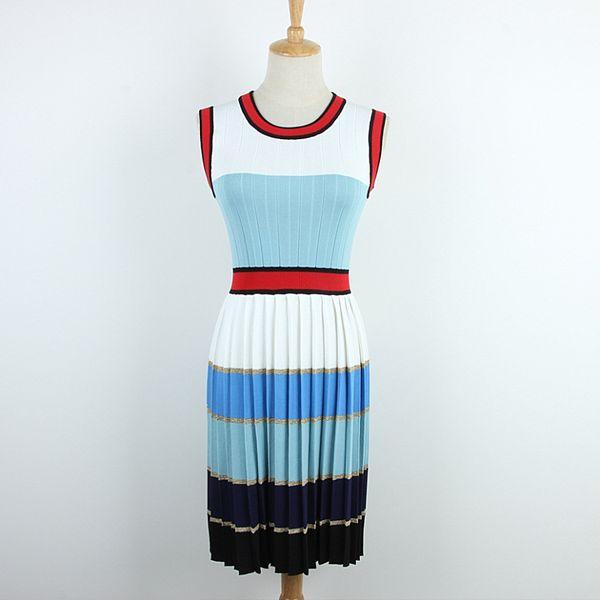 2019 latest design women dress Sleeveless vest pleated skirt color striped knit wild summer dresses new women's clothes fashion streetwear